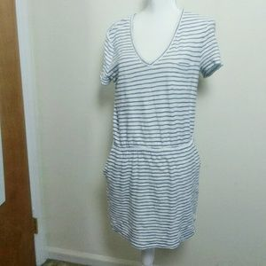 Lou & Grey Striped V-neck Blue White Tshirt Dress